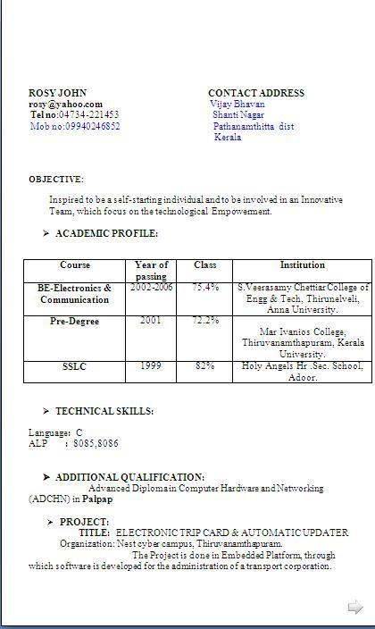 Resume Format Kerala Resume Format Good Cv Resume Format For Freshers Resume Format Download