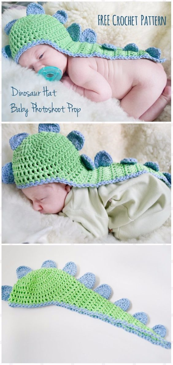 Crochet Baby Dino Hat with Cape Free Pattern - Crochet Baby Shower Gift Ideas Free Patterns