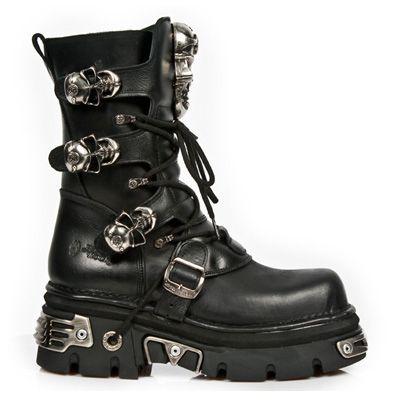 M.375-S1 Gothic Metal laars met schedel gespen, schoenveters en rits zwart