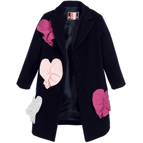 Girls Navy Blue Wool Coat with Pink Hearts | Pink Coats and Wool