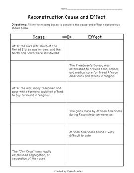 Reconstruction Cause-and-Effect Worksheet (VS.8a-b) | Virginia ...