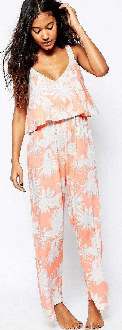 White and Peach Floral Frill Beachy Jumpsuit