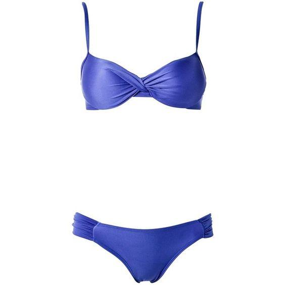 Lygia & Nanny push up bikini set ($159) ❤ liked on Polyvore featuring swimwear, bikinis, blue, push up bikini swimwear, blue bikini, bikini swim wear, pushup swimwear and spandex swimwear