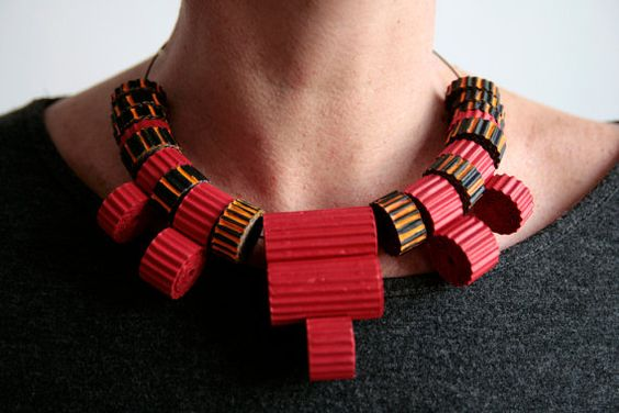 eco corrugated cardboard necklace with red & black beads by Egeo