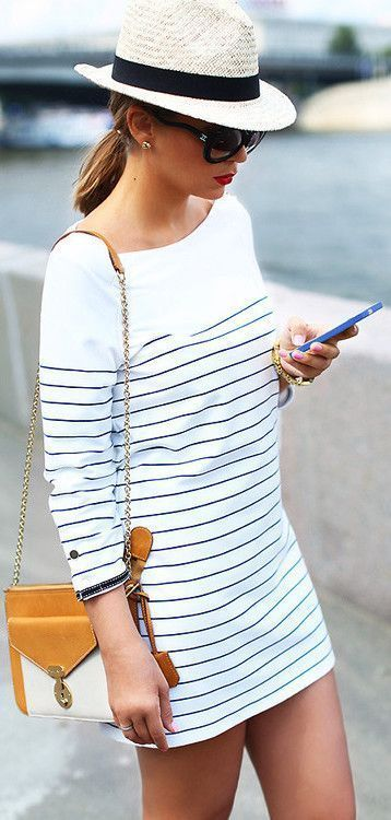 #street #style casual striped dress @wachabuy: