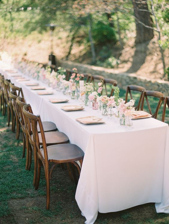 120 blush bud small vases down long farm table by San diego wedding florist tiny victories at sacred mountain julian ethereal garden wedding elegant vibes