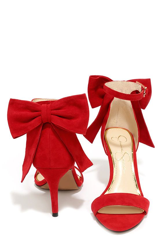 Jessica Simpson Millee Lipstick Red Suede Bow Heels | Toe band ...