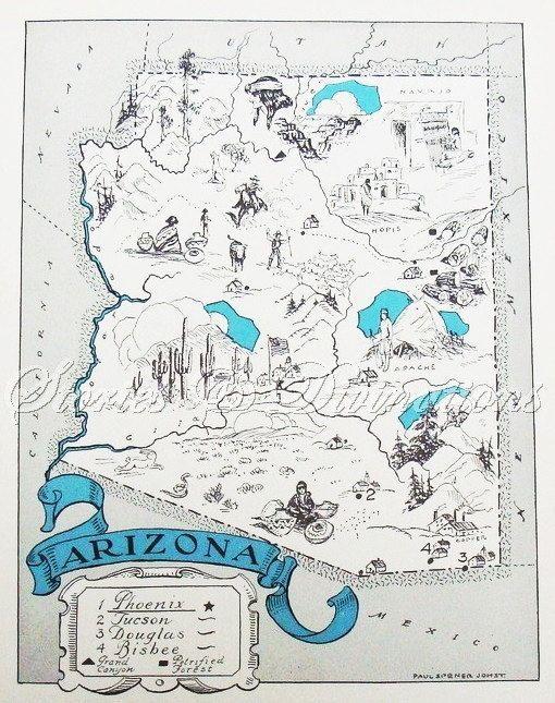 Rare ARIZONA Map of Arizona w Railroads RARE SIZE Vintage 1944 Map Travel Gallery Wall Art 6413 | Arizona, Vintage Maps and Maps