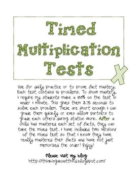 Timed Multiplication Test Practice ... a great FREE download.  Each number has its own page to practice ... perfect for those students who are struggling with just a number or two.