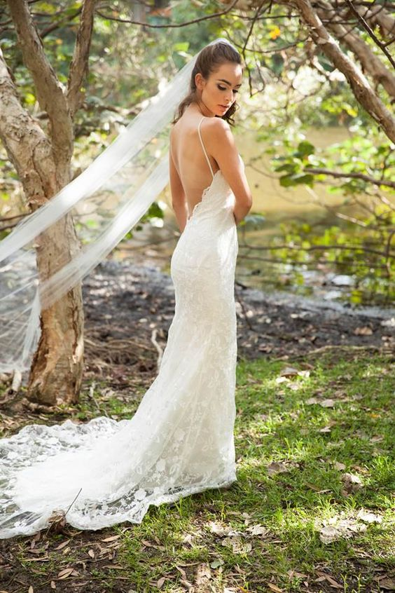 Bella wedding dress and Chani Veil. Low back lace wedding ...