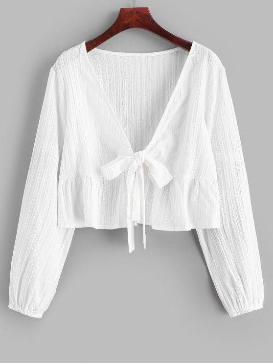 Camisa de cuello anudado con volantes sólidos   Blusas mujer