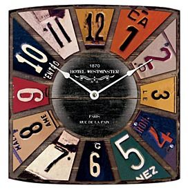 Licence Plates Wall Clock 31.5x35cm | nunya