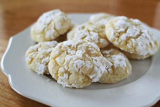 "Gooey Butter Cookies Recipe from Matthew Rice, Pastry Chef at Nightwood Restaurant in Chicago, Illinois.  Taste like the top of a St. Louis Gooey Butter Cake.  From site pinned:  ""For those of you unfamiliar with gooey butter cake, think: baked cream cheese frosting, which isn't far from the truth of this recipe. Raw cookie dough eaters will love these."""