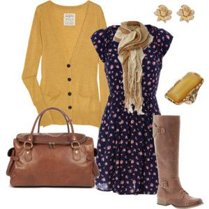 Fall Romantic-- Love the dress and boots but not the golden yellow color.. ew. maybe with a very pale pink cardi and acces.