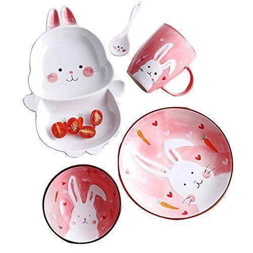 Youngqi Ceramics Porcelain Cartoon Kids Dishes Set Includ Https Www Amazon Com Dp B07h2yd469 Ref Cm Sw R Pi Dp Kids Dinnerware Kids Plates Kids Dishes Set