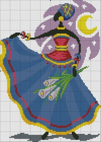 0 point de croix femme africaine - cross stitch african lady:
