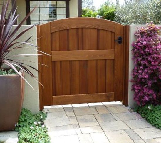 Concrete Block Wall Fence With Wooden Gate Google Search