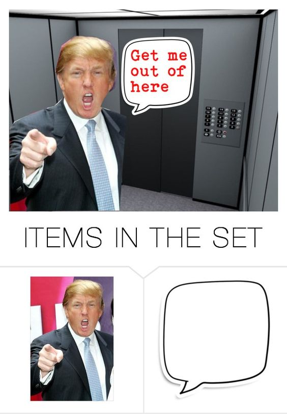 """Donald Stuck In Elevator"" by sjlew ❤ liked on Polyvore featuring art"