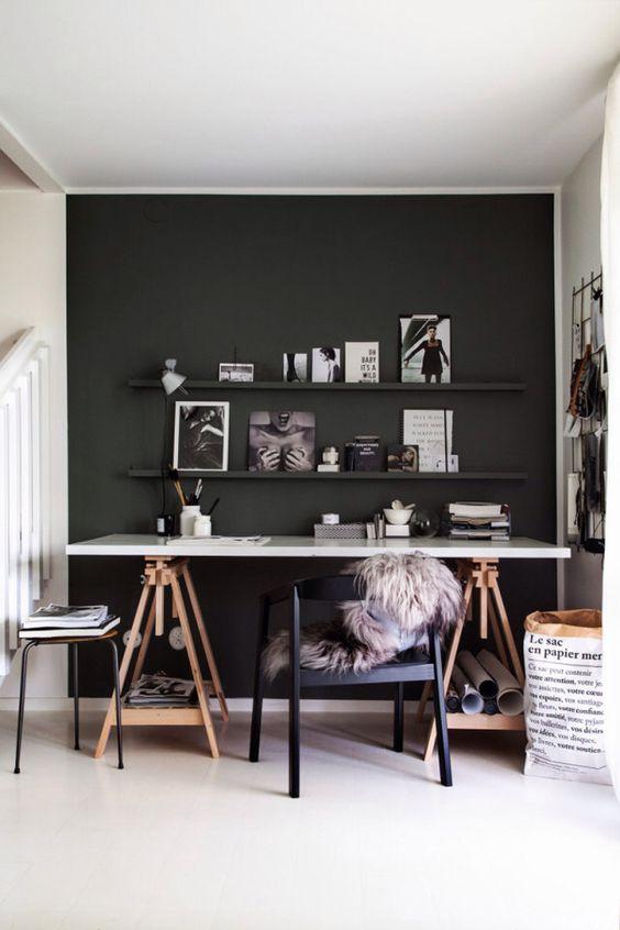 black wall white desk