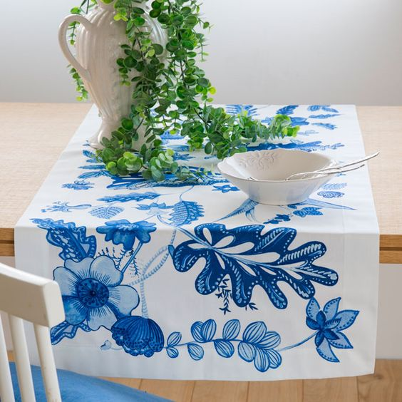 Camino de mesa flor azul zara home mesas pinterest - Caminos de mesa zara home ...
