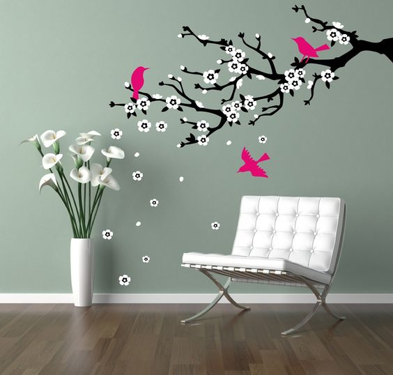 Wall decal cherry branch. Cherry blossom branch. Flowering branch and birds - matte removable vinyl decal. $43.00, via Etsy.: Wall Art, Wall Decals, Decorating Ideas, Wall Color, Living Room