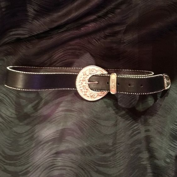 Belt Leather Chico's belt. Black with silver buckle embellished with rhinestones. Like brand new. Chico's Accessories Belts