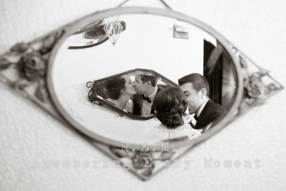 Looking at their future together. Photo idea with mirrors. R.E.M. Wedding. www.remvp.com
