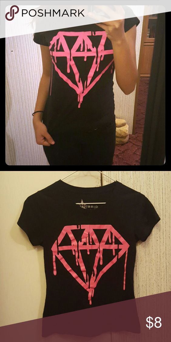 Punk Dripping Diamond tee shirt Perfect for petite girls Tops Tees - Short Sleeve