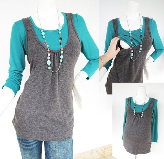 JANE Maternity TOP – Maternity Clothes. Breastfeeding Top. Nursing Top.  BROWN VEST with Green Under-shirt    • Designed for pregnancy and
