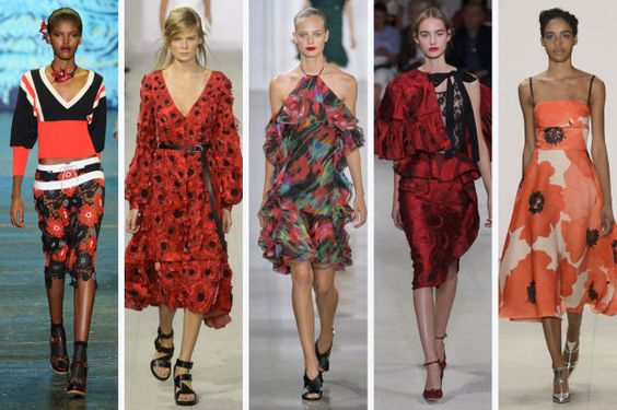 NYFW - POPPIES - when one thinks of florals in fashion, poppies are not necessarily the first blooms to come to mind, which is why we couldn't help but notice just how much we're seeing them in New York. The bright red flower has been printed, sequined and strung together on a number of looks from designers like Anna Sui, Michael Kors and Oscar de la Renta. Where will it pop up again next?  From left to right: Anna Sui, Michael Kors, Jason Wu, Oscar de la Renta, and Lela Rose