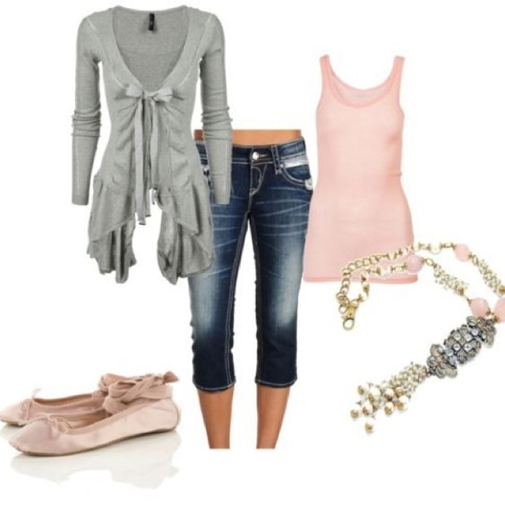 Very girly and cute. I would have to  trade the flats for heels or even flip flops.