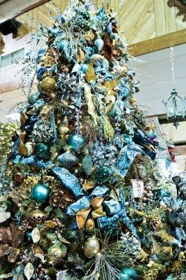 A christmas tree decorated with blue glitz and glitter Stock Photo