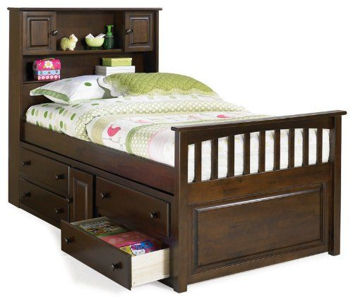 Donco Kids Twin Bookcase Captains Bed