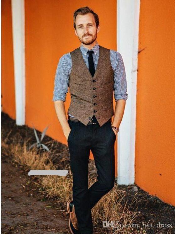 Vintage Brown Tweed Vest Wool Herringbone Groom Vests British Style Mens Suit Vests Slim Fit Mens Dress Vest Wedding Waistcoat 2018 Mens Vest Styles Mens Weddin Mens Dress Vests Mens Suit