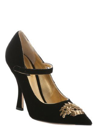 black velvet embroidered pointed toe mary jane pumps