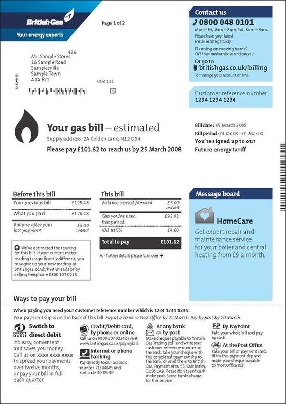 British Gas - customer bills and statements by Lucy Hamlet, via - customer reference template