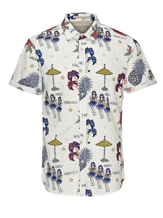 ORIGINALS by JACK & JONES - Kurzärmeliges Hemd von ORIGINALS - Slim fit - Standardkragen - Gerundeter Schnitt - Aufschläge an den Bündchen - Komplett mit Blumen-Print versehen 100% Baumwolle...