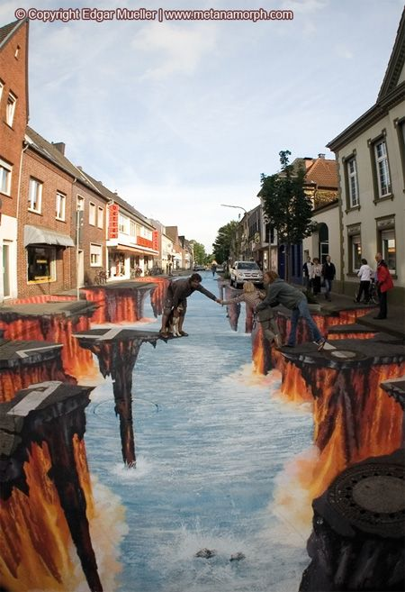 3D Lava Burst in Germany~Edgar Mueller is a German artist who creates incredible 3d pavement art using the street as his canvas.  He paints over large areas of urban public life and gives them a new appearance, thereby challenging the perceptions of passers-by.