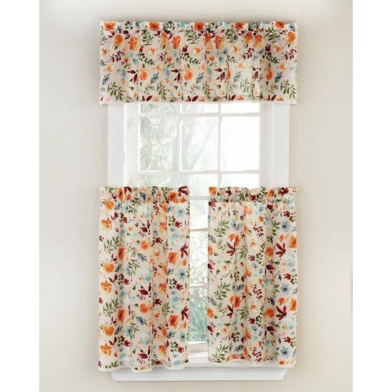 The Pioneer Woman Willow 3 Piece Kitchen Curtain Tier And Valance Set Walmart Com Pioneer Woman Kitchen Kitchen Curtains And Valances Kitchen Curtains