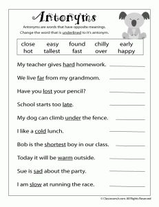 Worksheets Year 3 English Worksheets we will learn about antonyms as well synonyms this year in 3rd grade is a sample worksheet complete class while g