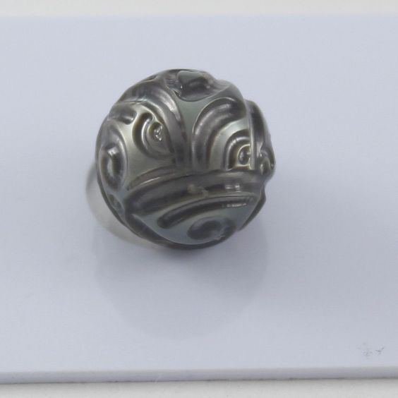 CARVED Tahitian Pearl, Undrilled 11.79mm