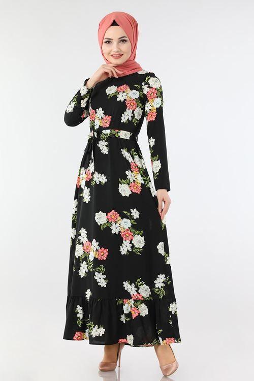 Modaselvim Elbise Etegi Firfirli Cicekli Elbise 4004 1mb205 Siyah Dresses High Neck Dress Fashion