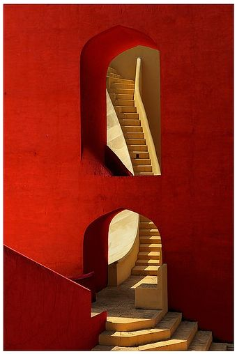 Gorgeous hues of reds and oranges in Jantar Mantar, Jaipur, India