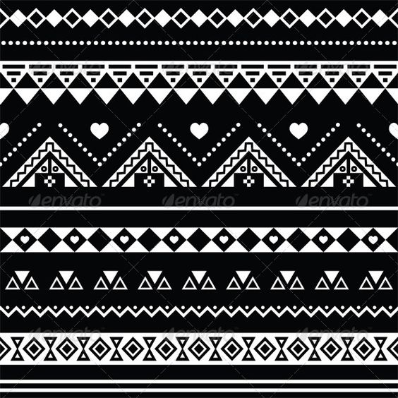 Aztec Seamless Pattern, Tribal Black and White - Backgrounds Decorative