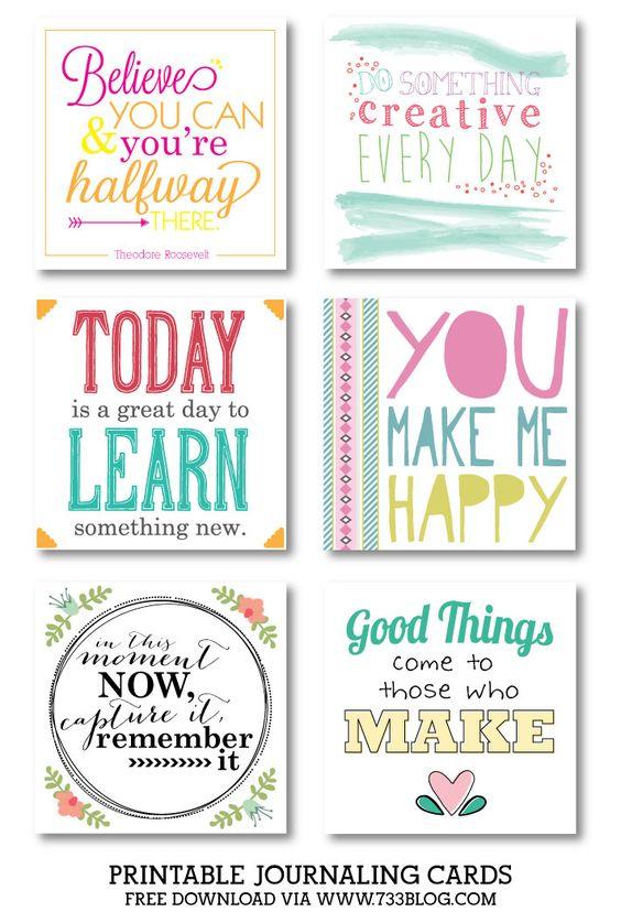 Free Printable Journal Cards - Collection 2 | 733blog.com