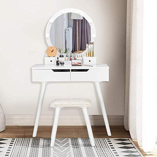 Amazing Offer On Bonnlo Vanity Table Set Lighted Mirror Round Makeup Vanity Table 8 Light Bulbs Touch Switch Bedroom