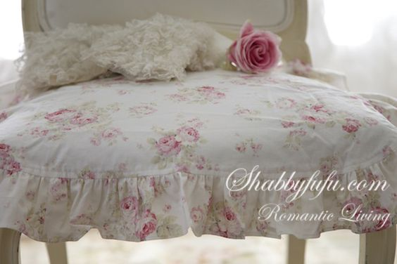 Shabby Chic Ruffled Chair Cushions Exclusive To