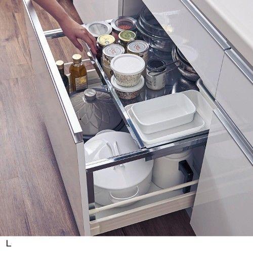 上下2段で深引出しを効率よく使う Bếp Nhỏ Bếp