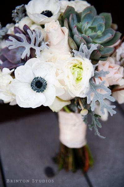 Succulents, ranunculus and anemones
