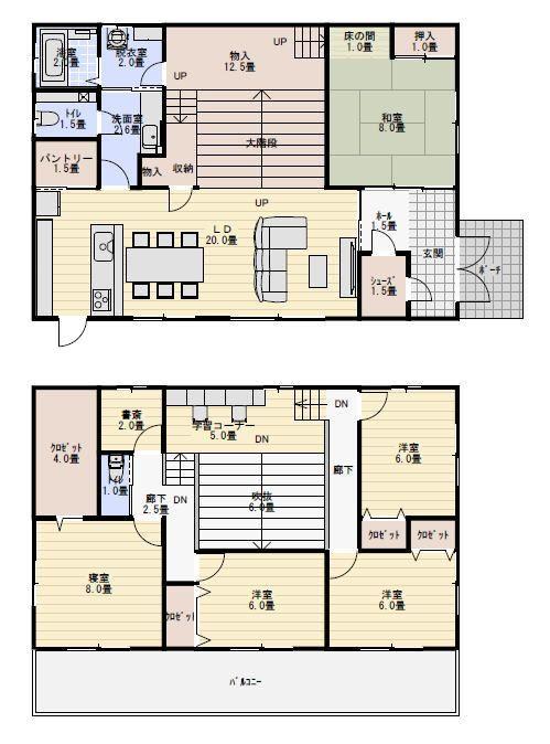 55坪5ldk家の中に広場の大階段がある住宅の間取り図 間取り 大階段